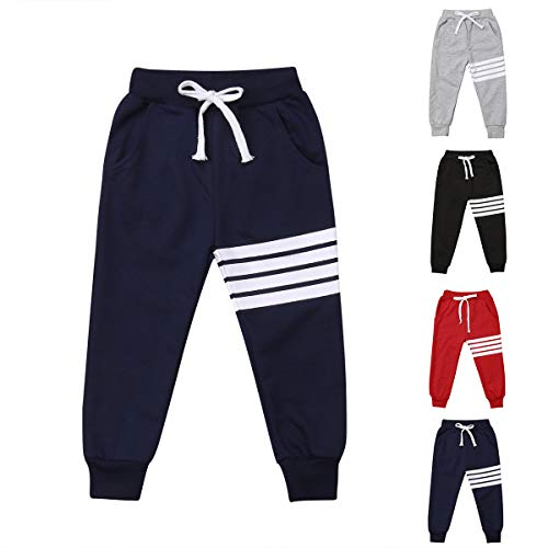 Baby Boys Girls Cotton Elastic Waist Sports Pants White Strips Print Unisex Baby Casual Active Sweatpants Trousers Bottoms (Navy, 2-3T)
