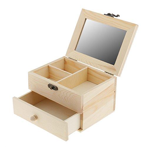 MonkeyJack 2 Tiers Plain Unpainted Wooden Jewelry Box