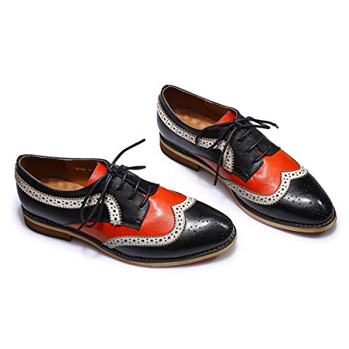 32b298232e Mona flying Womens Leather Perforated Lace-up Brogue Wingtip Derby Saddle  Oxfords Shoes for Womens