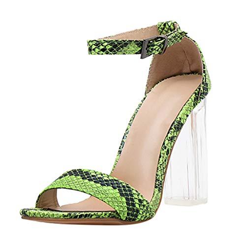 Respctful✿High Heels Shoes for Women Sexy Snake Printing Party Glitter Stilettos Wedding Pumps Sandal Green -