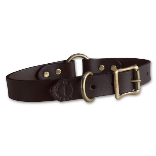 Filson Leather Dog Collar (Brown, 14)