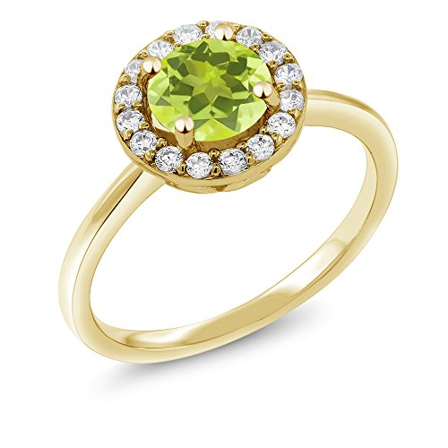 (Gem Stone King 18K Yellow Gold Plated Silver 1.40 Ct Yellow Lemon Quartz Halo Engagement Ring (Size 9))