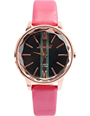 Women casual leather wristwatch pink color