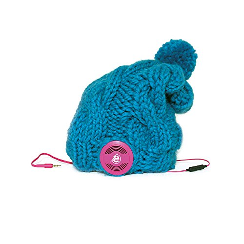 Earebel Turquoise Hand Knitted Plait Bobble Hat Beanie with Built-In Pink AKG Headphones, Lacaune by Earebel powered by AKG