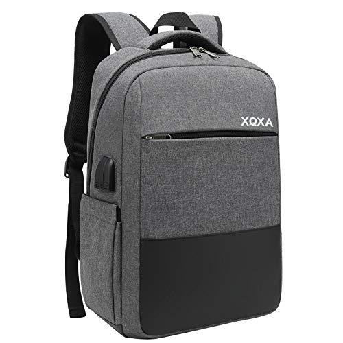 XQXA Mochila Unisex Impermeable para Ordenador Portatil de hasta 15.6 Pulgadas, con Puerto USB, Conector para Auriculares y Bolsillo Antirrobo. para los Estudios, Viajes o Trabajo - Gris