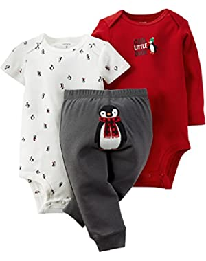 Carters Baby Boys 3-pc. Cool Penguin Bodysuit Set 3 Month Red/white/grey