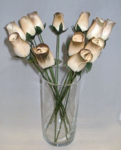 2 Dozen (24) Hand Crafted Birch Wood Wooden Closed Tea Bud Roses for Weddings, Party Favors, All Occasion, Home Decor (Brown-Olive/ White)