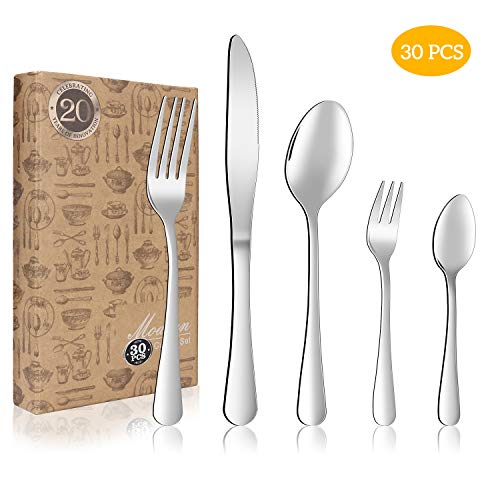 Flatware Set, Fun Life 30-Piece Silverware Cutlery Set Stainless Steel Utensils for 6, Including Knife Fork Spoon for Home Kitchen Restaurant - Stainless Utensil Steel 6 Piece