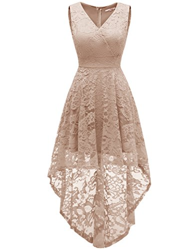 Dressystar 0022 Sleeveless Hi-Lo Lace Prom Dress Cocktail Party Gowns M Champagne ()