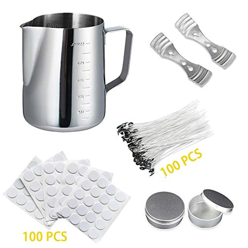 - Candle Making Kit Supplies, DIY Candle Craft Tools Sets - Included 1pcs Candle Making Pot, 100pcs Natural Candle Wicks, 100pcs Candle Wick Stickers, 2pcs Candle Wicks Holder and 2pcs Candle Tins