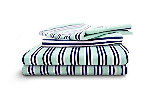 (HONEYMOON HOME FASHIONS Queen Sheet Set 4 Piece with Deep Pocket, Stripe)