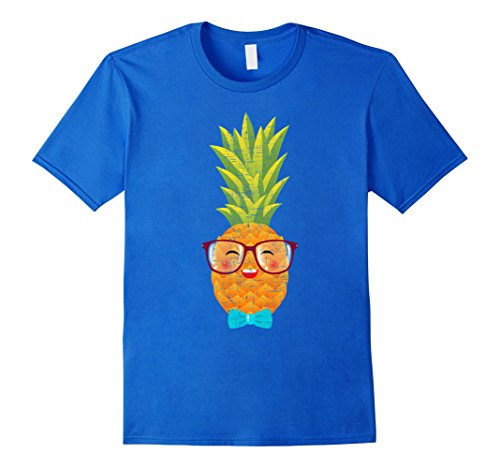 Mens Hawaiian Pineapple with Bow Tie & Glasses Geek T-Shirt XL Royal - With Glasses Geek Bow