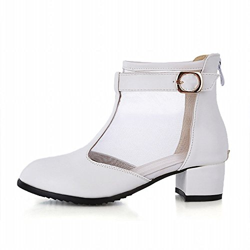 Carol Shoes Elegance Womens Buckle Zipper Mesh Chic Middle Chunky Heel Summer Boots White zzFS5K4