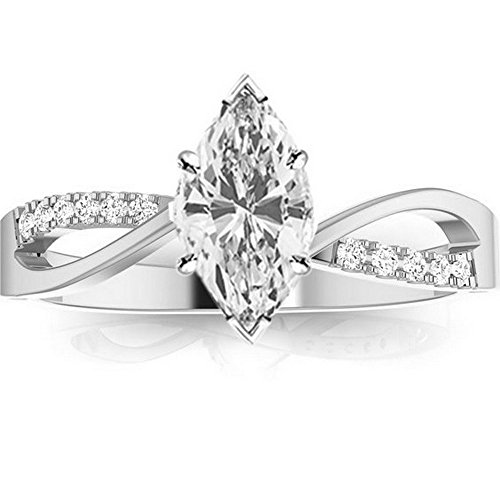 0.58 Ctw 14K White Gold Elegant Twisting Split Shank Engagement Ring w/Marquise 0.5 Carat Forever One Moissanite ()