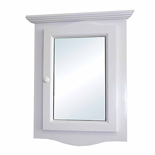 White Medicine Cabinet Hardwood Corner Mount Recessed Mirror Easy Clean Two Shelves Space Saver