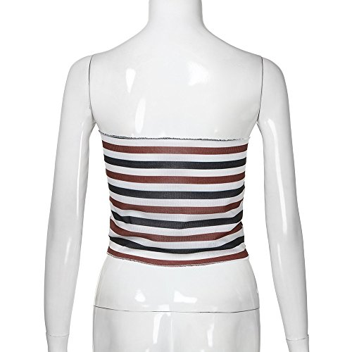 Eolgo 2019 Women's Summer Blouse Sexy Striped Tank Fashion Off Shoulder Shirt Tight Wrap Vest Tops(Red,M) by Eolgo (Image #4)