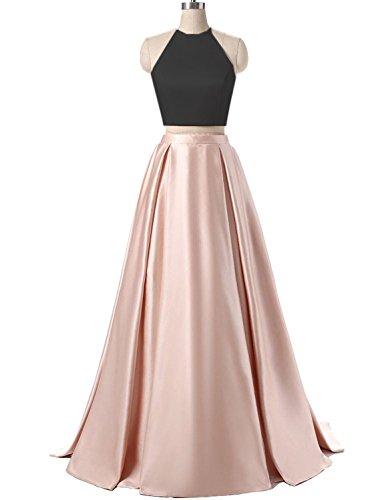 2 Piece Halter Evening Gown - 3
