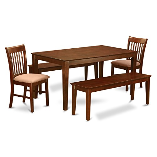 East West Furniture CANO5C-MAH-C 5-Piece Dining Room Table Set