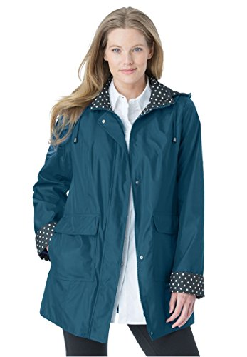 Women's Plus Size Raincoat In New Short Length With Fun Dot Trim Exotic