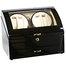 Top Quality Wooden Quad Watch Winder Box Case with a Storage Drawer ww412