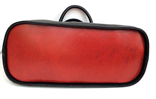 SUPERFLYBAGS Borsa Bauletto in vera pelle Tamponato modello Madrid Made in Italy Rosso-Nero