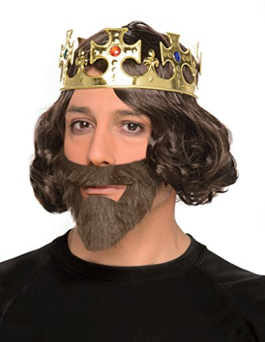 [Men's Medieval Era Knight Crown, Wig, and Beard Combo - One Size - Halloween] (Halloween Costumes With Beards And Long Hair)