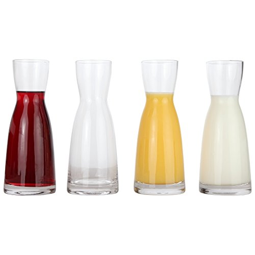 Lily's Home Individual Glass Wine Decanters, Miniature Personal Size Carafes Ideal for Dinner Parties and Wine Tastings, Makes Wonderful Gift (10 oz. Each, Set of 4)