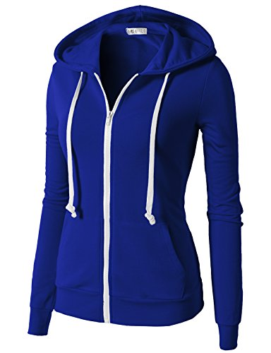 H2H Women's Oversized Active Slim Fit Zip Up Long Sleeve Hoodie Jacket With Solid Colors BLUE US L/Asia L (CWOHOL020)