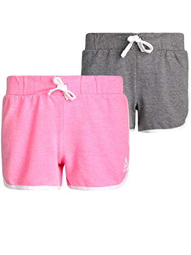 Reebok Girls' French Terry Athletic Shorts (2 Pack), Azelea Pink/Heather Grey, Size - Terry Girls Shorts