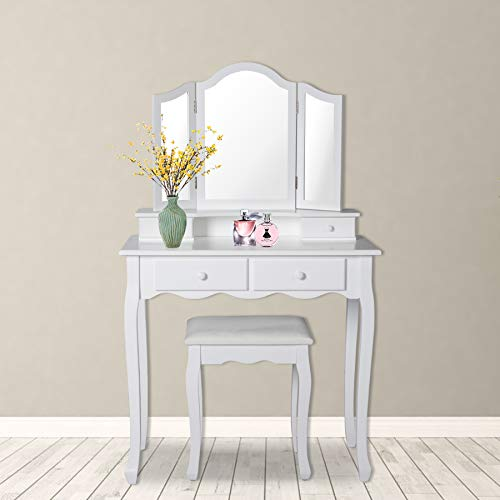 Wood Makeup Desk Vanity Dressing Table Set with Mirror Modern Makeup Vanity Table with Cushioned Stool for Girls Women, White