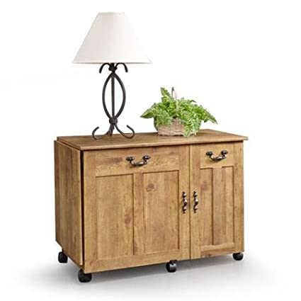 Amber Pine Sauder Sewing And Craft Table Pine Finish