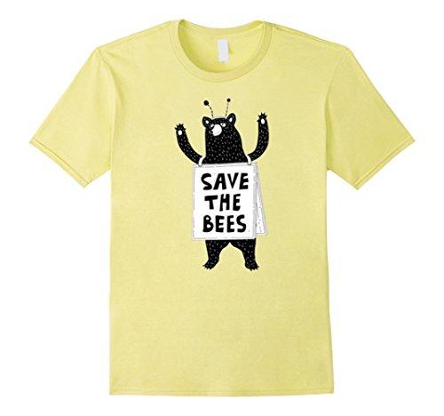 Mens Save The Bees Honeybees Grizzly Bear Cartoon T Shirt Medium - Save Bees