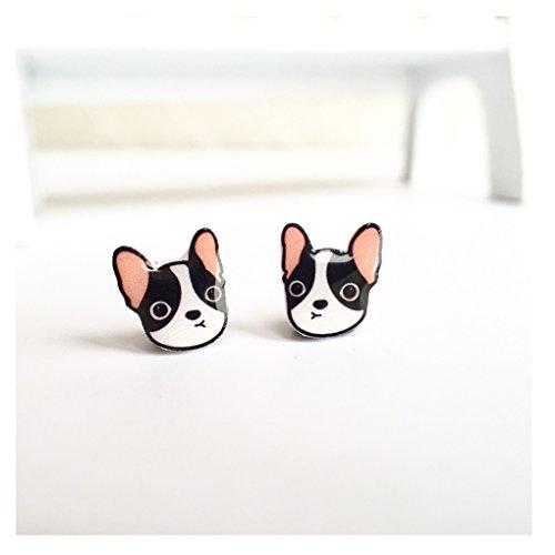 100% Sterling Silver Handmade Very Cute Girls Jeweled Bulldog Stud Earrings