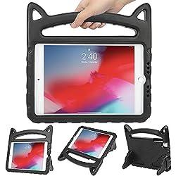 HDE - Carcasa para iPad Mini 1, 2, 3, 4 y 5, diseño de Orejas de Gato, a Prueba de Golpes, con asa y función Atril para iPad Mini 5 (2019), Mini 4, Mini 3, Mini 2 y Mini Tablet Original, Negro