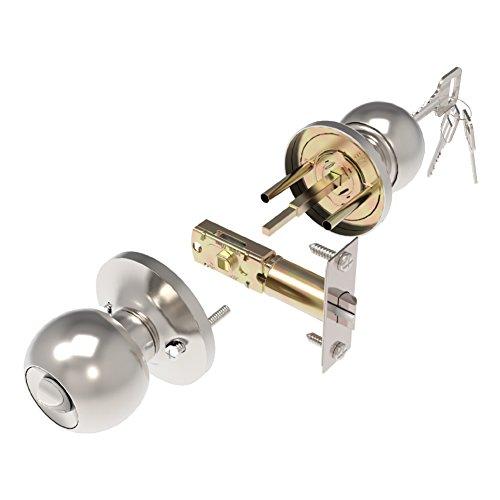 Adjust Plate Strike Door - GLANICS Keyed Entry Door Knob, Interior Door Knobs with Lock and Key, Closet Door Lock Locks with Key, Satin Stainless