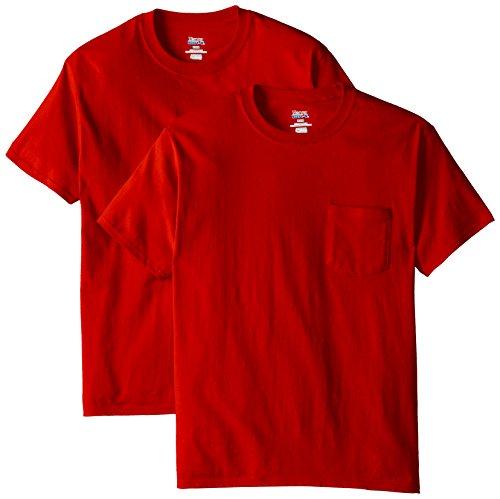Hanes Men's 2 Pack Short Sleeve Pocket Beefy-T, Deep Red, X-Large