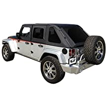 Rampage Products 109835 Black Frameless Soft Top Kit with Tinted Windows for Jeep Wrangler JK Unlimited 4-Door