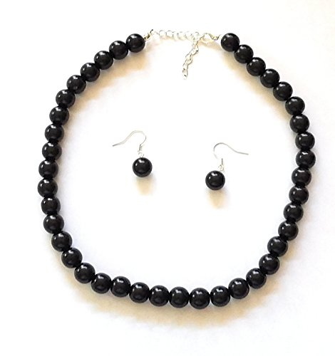 Girl's Pearl Necklace with Earrings (Faux) (Black) By Millennium Design