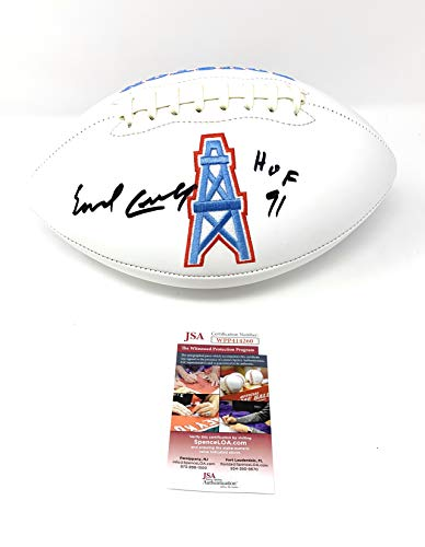 Earl Campbell Houston Oilers Signed Autograph NFL Embroidered Logo Football HOF Inscribed JSA Witnessed Certified ()