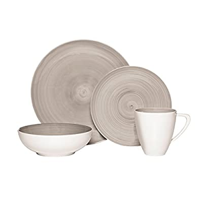 Mikasa Savona Grey 4-Piece Place Setting, Service for 1 - Made of high quality porcelain, Savona dinnerware creates a sophisticated and contemporary aesthetic Have all the plates needed for entertaining guests at any dining setting, whether formal or casual The faces of these beautiful hand-painted plates have full-coverage color with a distinct swirl effect, while the mug and bowl are white on the exterior with the color on the inside to give any tabletop a unique, eye-catching look and feel - kitchen-tabletop, kitchen-dining-room, dinnerware-sets - 41oKhxLG3gL. SS400  -