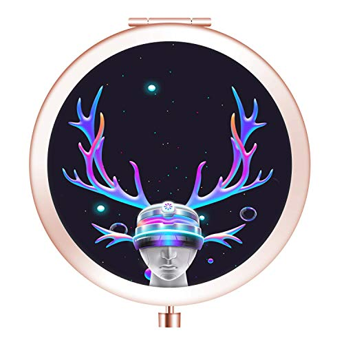 Shiny Elk Portrait Metal Pocket Mirror Round Folding Mirror Compact Makeup Mirror with Double-Sided Stylish Idea for Gift Women (Portrait Elk)