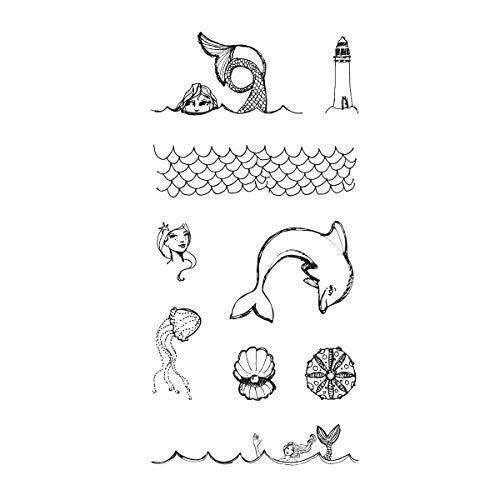 (Spellbinders JD-007 Jane Davenport Tin of Mermaids Wood Mounted Rubber Stamps,)