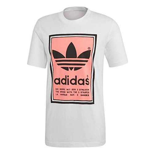 (adidas Originals Men's Filled Label Sweatshirt, White/Flash red, Medium)