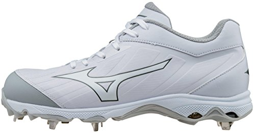 Mizuno Women's 9-Spike Advanced Sweep 3 Softball Shoe, White, 8.5 D (Lightweight Softball Cleats)