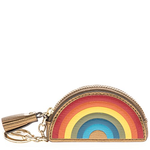 Anya Hindmarch Women's Embossed Rainbow Coin Purse with Key Ring Camel