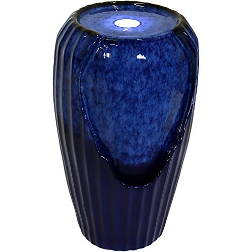 Sunnydaze Blue Ceramic Vase Outdoor Water Fountain with LED Lights and Electric Submersible Pump, 22-Inch