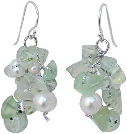 NOVICA Cultured Freshwater Pearl and Prehnite Cluster Earrings, 'Thai Whisper'