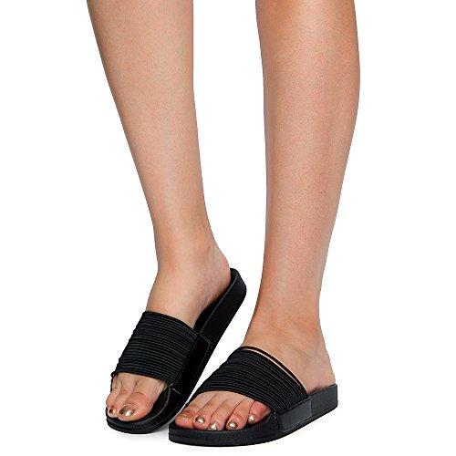 Bamboo Womens Vibrance-02S Slides Sandal Black 58D5S