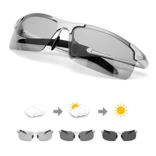 TJUTR Men's Photochromic Sunglasses with Polarized Lens for Outdoor 100% UV Protection, Anti Glare, Reduce Eye Fatigue (Silver Frame/Grey Photochromic Polarized ()