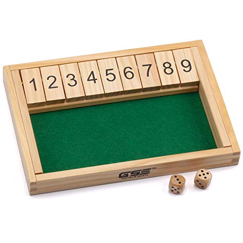 Wooden Shut The Box 9 Numbers Dice Game Board with 2 Wooden Dice. Classic Tabletop Version of The Popular English Pub Game…